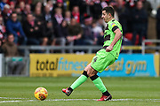 Forest Green Rovers Lloyd James(4) passes the ball forward during the EFL Sky Bet League 2 match between Lincoln City and Forest Green Rovers at Sincil Bank, Lincoln, United Kingdom on 3 November 2018.
