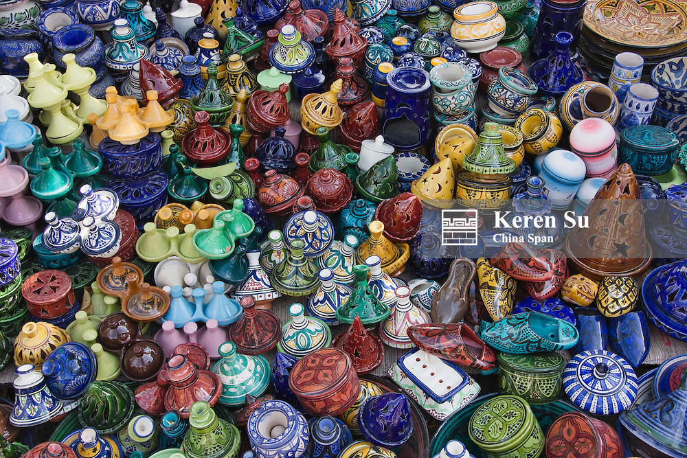 Selling pottery, Chefchaouen, Morocco