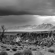 A winter storm descends on the Owen Valley near Bishop California.