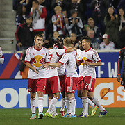 Bradley Wright-Phillips, New York Red Bulls, is congratulated by team mates after scoring during the New York Red Bulls Vs Toronto FC, Major League Soccer regular season match at Red Bull Arena, Harrison, New Jersey. USA. 11th October 2014. Photo Tim Clayton