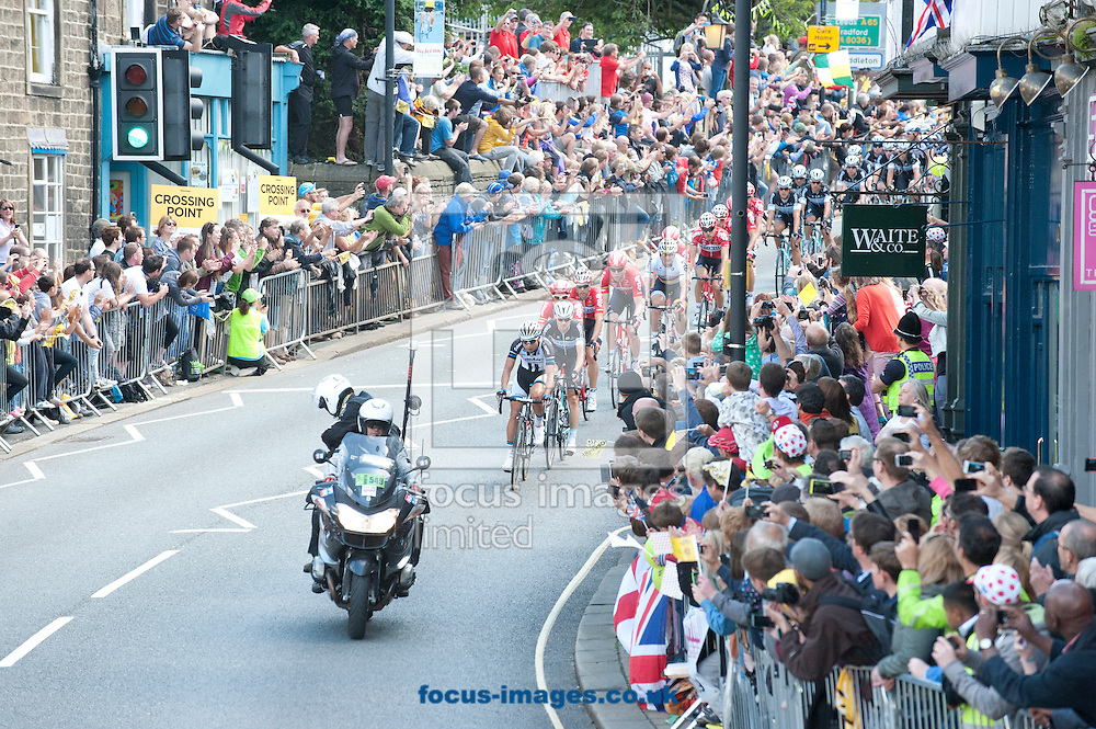 The front of the peloton pictured during Stage One of the Tour de France at Ilkley, Yorkshire.<br /> Picture by Russell Hart/Focus Images Ltd 07791 688 420<br /> 05/07/2014
