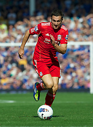 LIVERPOOL, ENGLAND - Saturday, October 1, 2011: Liverpool's Stewart Downing in action against Everton during the Premiership match at Goodison Park. (Pic by David Rawcliffe/Propaganda)