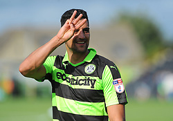 Goal scorer Omar Bugiel of Forest Green Rovers celebrates after the final whistle - Mandatory by-line: Nizaam Jones/JMP - 19/08/2017 - FOOTBALL - New Lawn Stadium - Nailsworth, England - Forest Green Rovers v Yeovil Town - Sky Bet League Two
