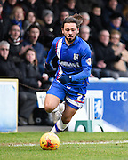 Gillingham midfielder Bradley Dack attacking during the Sky Bet League 1 match between Gillingham and Swindon Town at the MEMS Priestfield Stadium, Gillingham, England on 6 February 2016. Photo by David Charbit.