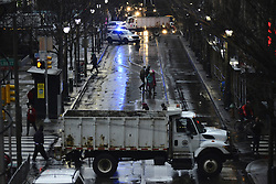 The intersection near Loews Hotel in Center City, Philadelphia, Pennsylvania is blocked as <br /> President Donald Trump, Vice-President Mike Pence, UK Prime Minister Theresa May and Ex-NFL player Payton Manning are expected to appear to headline the Congress of Tomorrow Joint Republican Issues Conference, on January 26th, 2017.