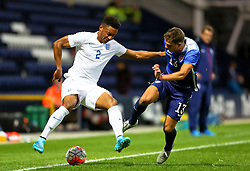 Joe Gomez of England U21 with Marc Pelosi of USA U23  - Mandatory byline: Matt McNulty/JMP - 07966386802 - 03/09/2015 - FOOTBALL - Deepdale Stadium -Preston,England - England U21 v USA U23 - U21 International