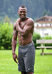 21.07.2014, Schwimmbad, Zell am Ziller, AUT, SV Werder Bremen Trainingslager, im Bild Assani Lukimya (SV Werder Bremen #5) // during the Preparation Camp of the German Bundesliga Club SV Werder Bremen at the Schwimmbad in Zell am Ziller, Austria on 2014/07/21. EXPA Pictures © 2014, PhotoCredit: EXPA/ Andreas Gumz<br /> <br /> *****ATTENTION - OUT of GER*****