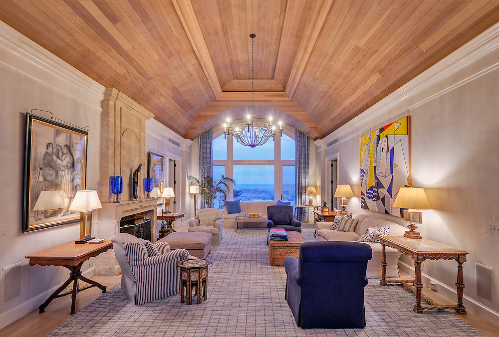 Ocean Front Living Room, Meadow Lane, Southampton, Long Island, New York