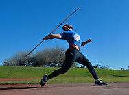 CAPE TOWN, SOUTH AFRICA - JUNE 08: Rocco van Rooyen launches the javelin in an attempt to qualify for the  Rio Olympic Games during a hastily convened competition at the Parow Athletics stadium on June 09, 2016 in Cape Town, South Africa (Photo by Roger Sedres/Gallo Images)