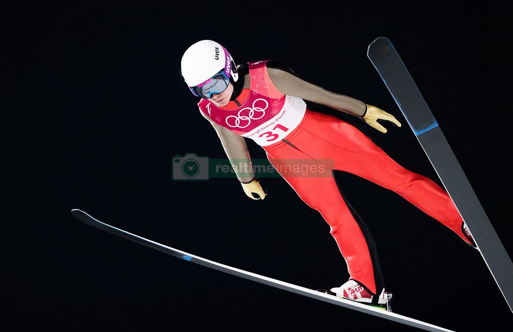February 12, 2018 - Pyeongchang, SOUTH KOREA - 180212 Lea Lemare of France competes in Ski Jumping, Women's Normal Hill Individual Final, during day three of the 2018 Winter Olympics on February 12, 2018 in Pyeongchang..Photo: Joel Marklund / BILDBYRN / kod JM / 87619 (Credit Image: © Joel Marklund/Bildbyran via ZUMA Press)