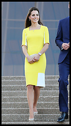 The Duchess of Cambridge walk down the steps of the Sydney Opera House after attending a reception following her  arrival with the Duke of Cambridge in Australia, Wednesday, 16th April 2014. Picture by Stephen Lock / i-Images