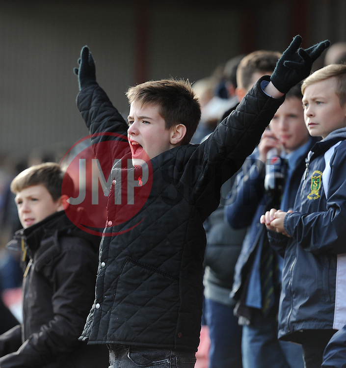 A Bristol Rugby fan cheers during a game against Bedford Blues - Photo mandatory by-line: Dougie Allward/JMP - Mobile: 07966 386802 - 29/03/2015 - SPORT - Rugby - Bristol - Ashton Gate - Bristol Rugby v Bedford Blues - Greene King IPA Championship