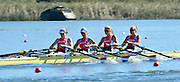 Varese,  ITALY. 2012 FISA European Championships, Lake Varese Regatta Course. ..NED W4X [Slow Shutter Speed], move away from the start in their heat of the Men's pair...11:54:06  Friday  14/09/2012 .....[Mandatory Credit Peter Spurrier:  Intersport Images]  ..2012 European Rowing Championships Rowing, European,  2012 010741.jpg.Crew. Bow, Kirsten<br /> WIELAARD, Janneke VAN DER MEULEN, Dominique VAN DER PAUW and Femke DEKKER,