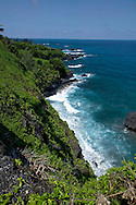 Hana Highway, coastline and cliffs on the way to Hana, Maui, Hawaii