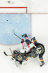 June 7, 2018: Washington Capitals center Lars Eller (20) scores goal as Vegas Golden Knights goaltender Marc-Andre Fleury (29) and Vegas Golden Knights defenseman Luca Sbisa (47) try to defend during the Washington Capitals and Vegas Golden Knights NHL Stanley Cup Final playoff game 5 at T-Mobile Arena in Las Vegas, NV. John Crouch/CSM