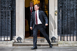 © Licensed to London News Pictures. 09/01/2018. London, UK. Secretary of State for Health and Social Care Jeremy Hunt leaves 10 Downing Street after the first meeting of the Cabinet after Prime Minister Theresa May's reshuffle. Photo credit: Rob Pinney/LNP
