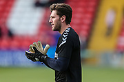Forest Green Rovers goalkeeper James Montgomery warming up during the EFL Sky Bet League 2 match between Lincoln City and Forest Green Rovers at Sincil Bank, Lincoln, United Kingdom on 3 November 2018.