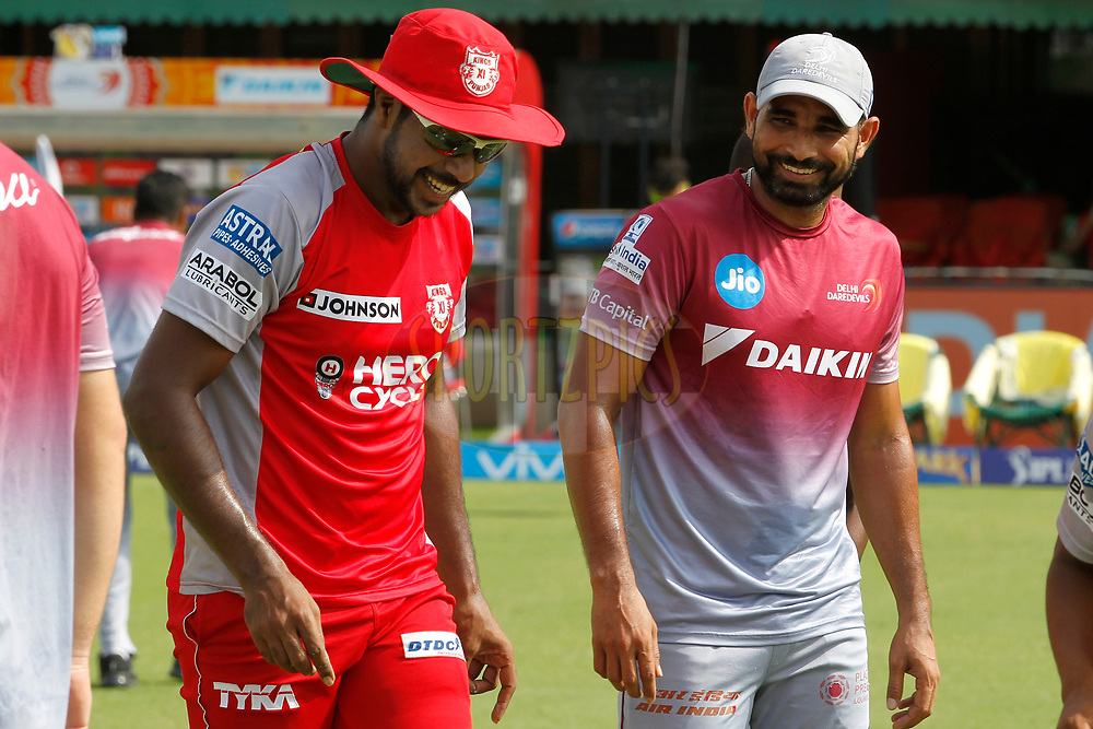 Varun Aaron of Kings XI Punjab and Mohammed Shami of the Delhi Daredevils before match 36 of the Vivo 2017 Indian Premier League between the Kings XI Punjab and the Delhi Daredevils  held at the Punjab Cricket Association IS Bindra Stadium in Mohali, India on the 30th April 2017<br /> <br /> Photo by Deepak Malik - Sportzpics - IPL