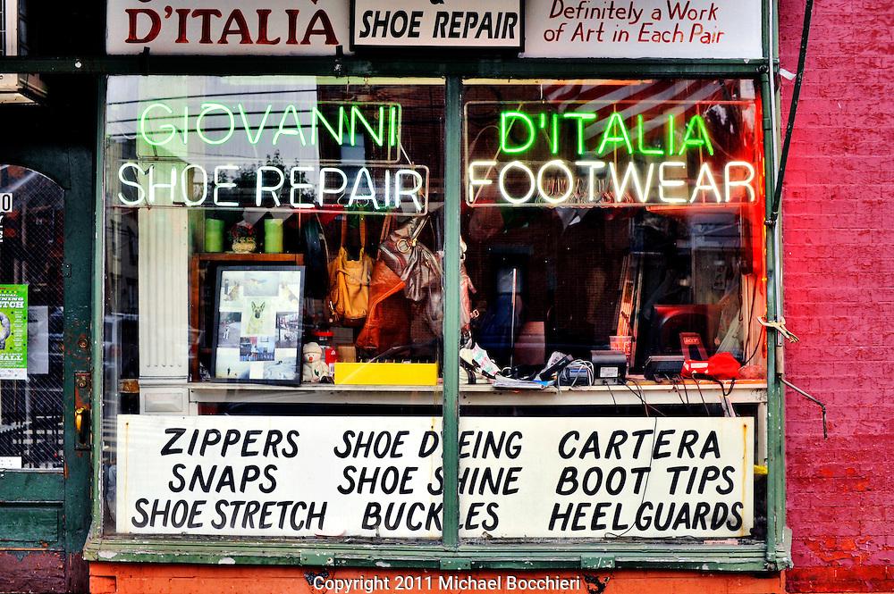 HOBOKEN, NJ - June 11:  The front window of Giovanni Shoe Repair shop on June 11, 2011 in HOBOKEN, NJ.  (Photo by Michael Bocchieri/Bocchieri Archive)