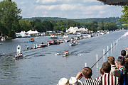 Henley on Thames, England, United Kingdom, Sunday, 07.07.19, Molesey Boat Club (top) leading Mercantile Rowing Club, Australia, as they pass the Enclosure, Henley Royal Regatta,  Henley Reach, [©Karon PHILLIPS/Intersport Images]<br /> <br /> 16:26:29 1919 - 2019, Royal Henley Peace Regatta Centenary,