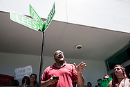 Carlos Valnera of Black Lives Matter Alliance of Broward addresses a crowd protesting in front of Hollywood's City Hall demanding the removal by the city commission of street signs named after confederate generals and KKK wizards on Wednesday August 30, 2017<br /> <br /> photo by Samuel Navarro