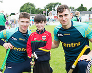 Galway hurlers Cathal Mannion and Jason Flynn with Cailean winner of the trip to Croke Park