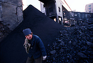 A worker at the state run Jinhuagong coal mine sorts coal outside the mine. Seven of the world's ten most polluted cities are in China due primarily to China's dilapidated heavy industries and its dependence on coal - the dirtiest form of energy. 75% of China's growing energy needs comes from coal. <br /> D&agrave;t&oacute;ng, Shanxi Province, China. 10/11/2005<br /> Photo &copy; J.B. Russell