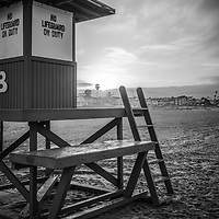 Black and white photo of Newport Beach California Lifeguard Tower B sunrise on Balboa Peninsula. Newport Beach is a popular beach city in Orange County Southern California. Photo is high resolution. Copyright ⓒ 2017 Paul Velgos with All Rights Reserved.