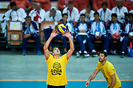 Katowice, Poland - 2017 September 01: Volleyball players of GKS Katowice attend in All Stars Game while Opening Ceremony during European Unified Volleyball Tournament 2017 at Spodek Hall on September 01, 2017 in Katowice, Poland.<br /> <br /> Adam Nurkiewicz declares that he has no rights to the image of people at the photographs of his authorship.<br /> <br /> Picture also available in RAW (NEF) or TIFF format on special request.<br /> <br /> Any editorial, commercial or promotional use requires written permission from the author of image.<br /> <br /> Image can be used in the press when the method of use and the signature does not hurt people on the picture.<br /> <br /> Mandatory credit:<br /> Photo by © Adam Nurkiewicz / Mediasport