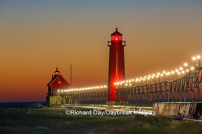 64795-01306 Grand Haven South Pier Lighthouse at sunset on Lake Michigan, Ottawa County, Grand Haven, MI