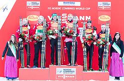 14.12.2013, Nordische Arena, Ramsau, AUT, FIS Nordische Kombination Weltcup, Langlauf Teamsprint, im Bild Podium: zweitplatzierte Haavard Klemetsen (NOR) und Magnus Krog (NOR), Sieger Mikko Kokslien (NOR) und Joergen Graabak (NOR) und drittplatzierte Samuel Costa (ITA) und Alessandro Pittin (ITA) // second Haavard Klemetsen (NOR) and Magnus Krog (NOR), Winner Mikko Kokslien (NOR) and Joergen Graabak (NOR) and third Samuel Costa (ITA) und Alessandro Pittin (ITA) during Team Sprint Cross Country of FIS Nordic Combined <br /> World Cup, at the Nordic Arena in Ramsau, Austria on 2013/12/14. EXPA Pictures © 2013, EXPA/ JFK