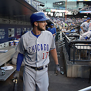 NEW YORK, NEW YORK - June 30: Kris Bryant #17 of the Chicago Cubs heads out of the dugout to bat during the Chicago Cubs Vs New York Mets regular season MLB game at Citi Field on June 30, 2016 in New York City. (Photo by Tim Clayton/Corbis via Getty Images)