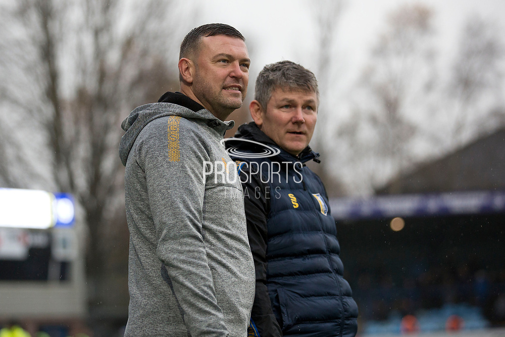 Mansfield Town manager John Dempster during the EFL Sky Bet League 2 match between Macclesfield Town and Mansfield Town at Moss Rose, Macclesfield, United Kingdom on 16 November 2019.