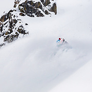 Tanner Flanagan skiing blower powder with the helmet devil in the  Teton backcountry near Jackson Hole Mountain Resort in Teton Village, Wyoming.