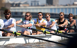 © Licensed to London News Pictures. 06/04/2012. London, U.K..The Cambridge crew at The Xchanging Oxford & Cambridge University Boat Race practice and preparation today Friday 6th April ready for The boat race on saturday 7th April...Photo credit : Rich Bowen/LNP