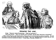 "Drawing the Line. Judge. ""Remove those barristers. They're drawing!"" Chorus of juniors. ""May it please your ludship, we're only drawing- pleadings."" [""Mr Justice Denman said that he saw a thing going on in court that he could not sanction. He saw gentleman of the bar making pictures of the witness. Let it be understood that he would turn out any gentleman of the bar who did so in future.""- Daily Paper, Thursday, December 17.] (a Victorian cartoon shows barristers laughing infront of a judge)"