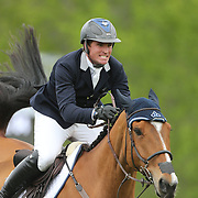 NORTH SALEM, NEW YORK - May 15: Quentin Judge riding HH Whisky Royale, in action during The $50,000 Old Salem Farm Grand Prix presented by The Kincade Group at the Old Salem Farm Spring Horse Show on May 15, 2016 in North Salem. (Photo by Tim Clayton/Corbis via Getty Images)