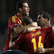 Roberto Soldado, Spain, is congratulated by team mates after scoring during the Spain V Ireland International Friendly football match at Yankee Stadium, The Bronx, New York. USA. 11th June 2013. Photo Tim Clayton