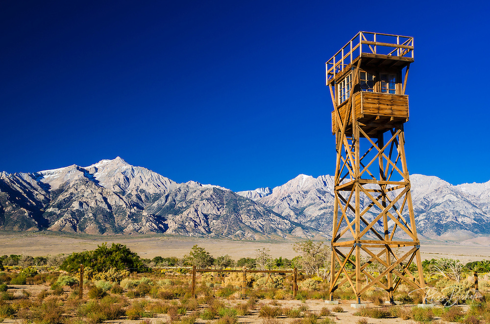 Guard tower at Manzanar National Historic Site, Lone Pine, California USA