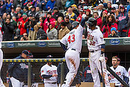 Josmil Pinto #43 of the Minnesota Twins is congratulated by Aaron Hicks #32 after hitting a go-ahead 2-run home run against the Kansas City Royals on April 13, 2014 at Target Field in Minneapolis, Minnesota.  The Twins defeated the Royals 4 to 3.  Photo by Ben Krause