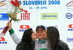Winner Jure Golcer of Slovenia (LPR Brakes) after the 3rd stage of the 15th Tour de Slovenie from Skofja Loka to Krvavec (129,5 km), on June 13,2008, Slovenia. (Photo by Vid Ponikvar / Sportal Images)/ Sportida)