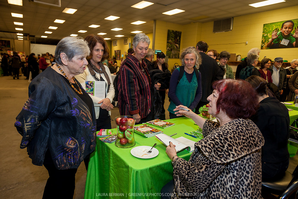 """Michele Landsberg  and Mariaon Kane at the launch party of """"share"""", FoodShare's 1st cookbook. Nov. 14, 2012"""