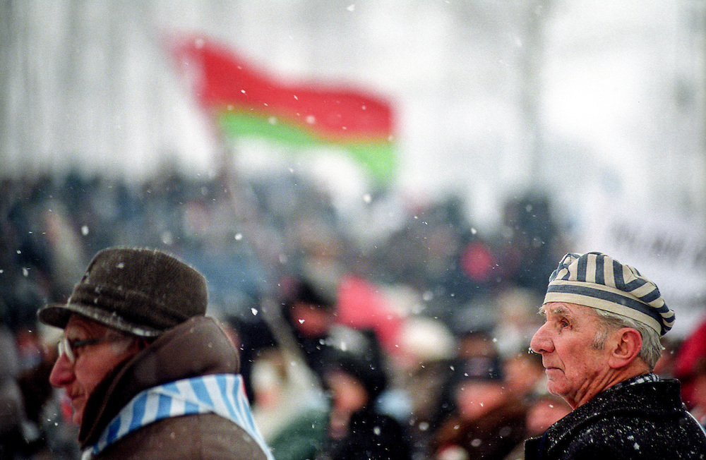 Survivors of the Auschwitz Nazi concentration camp attending the ceremony to mark the 60th anniversary of its liberation on the 27th of January 2005. It is estimated that between 1.1 and 1.5 million Jews, Poles, Roma and others were killed here in the Holocaust between 1940-1945.
