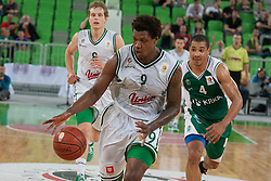 Deon Thompson of Union Olimpija & Mustafa Abdul Hamid of Krka during basketball match between KK Union Olimpija and KK Krka in 4nd Final match of Telemach Slovenian Champion League 2011/12, on May 24, 2012 in Arena Stozice, Ljubljana, Slovenia. Krka defeated Union Olimpija 65-55. (Photo by Grega Valancic / Sportida.com)