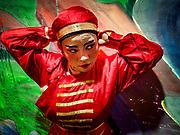 17 OCTOBER 2018 - BANGKOK, THAILAND:  A girl puts on her costime before the opera on the last night of the Vegetarian Festival at Chit Sia Ma Shrine in Bangkok's Chinatown. The Vegetarian Festival, also called the Nine Emperor Gods Festival, is a nine-day Taoist celebration beginning on the eve of 9th lunar month of the Chinese calendar. Traditional Chinese operas, called Ngiew in Thailand, are sponsored at many Chinese shrines and temples during the Vegetarian Festival.   PHOTO BY JACK KURTZ