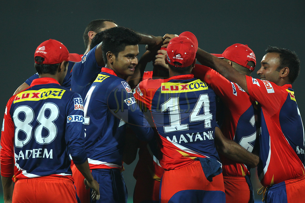 Delhi Daredevils Players celebrates the wicket of Parthia Patel of the Mumbai Indians  during match 21 of the Pepsi IPL 2015 (Indian Premier League) between The Delhi Daredevils and The Mumbai Indians held at the Ferozeshah Kotla stadium in Delhi, India on the 23rd April 2015.<br /> <br /> Photo by:  Deepak Malik / SPORTZPICS / IPL