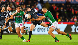 Sam Davies of Ospreys is tackled by Alberto Sgarbi of Benetton Treviso<br /> <br /> Photographer Craig Thomas/Replay Images<br /> <br /> Guinness PRO14 Round 4 - Ospreys v Benetton Treviso - Saturday 22nd September 2018 - Liberty Stadium - Swansea<br /> <br /> World Copyright © Replay Images . All rights reserved. info@replayimages.co.uk - http://replayimages.co.uk