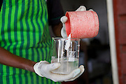Jovita Masanyika making soap.<br /> <br /> Jovita set up and now runs a soap making business selling a variety of soaps from shampoo to disinfectant.<br /> <br /> She attended MKUBWA enterprise training run by the Tanzania Gatsby Trust in partnership with The Cherie Blair Foundation for Women.