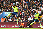 Derby County forward Cameron Jerome (32) jumps for a header at goal during the EFL Sky Bet Championship match between Aston Villa and Derby County at Villa Park, Birmingham, England on 28 April 2018. Picture by Jon Hobley.