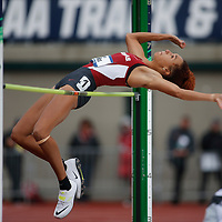 Arkansas's Taliyah Brooks attempts to clear the bar in the heptathlon high jump on the third day of the NCAA outdoor college track and field championships in Eugene, Ore., Friday, June 9, 2017. Brooks is in third place with 2605 points. (AP Photo/Timothy J. Gonzalez)